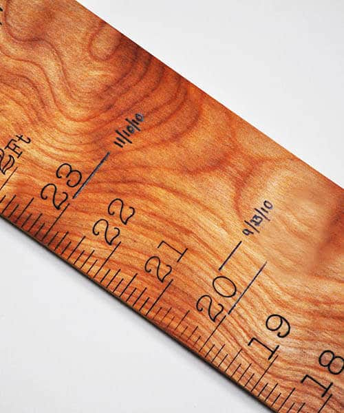 A Handmade Wooden Growth Chart and Ruler